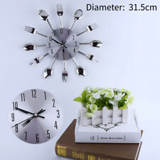 """12.4"""" Kitchen Wall Clock Spoon & Fork Cutlery Decorative Sliver Home 3D US STOCK"""
