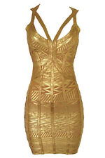 Gold Bandage Dress Club Wear Fashion Evening Wear Size S M L