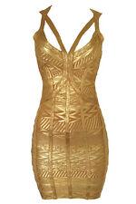 Vestido ceñido de Oro Ropa de club nocturno Moda Noche Ropa Talla S M L