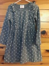 Hanna Andersson Ruffled Polka Dot Dress Girls Gray Size 110  5