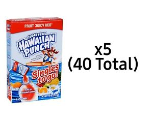 Hawaiian Punch FRUIT JUICY RED (Sugar Free) Singles To Go - (5) 8 ct Boxes (40)