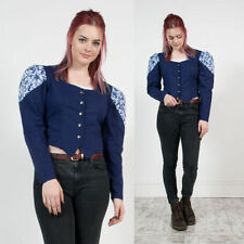 VINTAGE Blu Paisley Patterned aperto con Colletto Western Rodeo Camicia Blusa 10