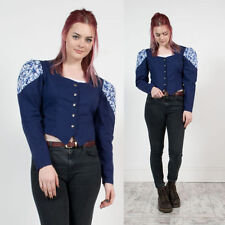 VINTAGE BLUE PAISLEY PATTERNED OPEN COLLARED WESTERN RODEO SHIRT BLOUSE 10