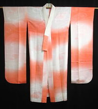 Vintage Japanese orange clair/blanc soie Furisode Juban/sous kimono/robe M/L