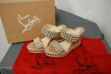 NEW CHRISTIAN LOUBOUTIN women's Ecu wedge studded espadrilles sandals shoes 39 9