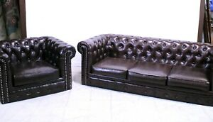 Sofa and Chair, Leather, Brown, Club ,Chesterfield From England, Lovely Set!