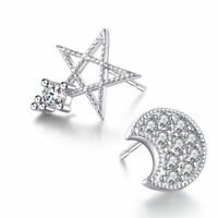 Women Lady Cute 925 Sterling Silver Zircon Star&Moon Ear Stud Earrings