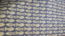 WOVEN  FISH COBOLT BLUE INDOOR OUTDOOR UPHOLSTERY  FABRIC