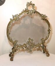 antique ornate thick gilt bronze Rococo style footed fireplace screen brass