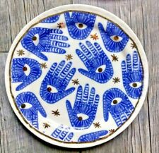 "Anthropologie Snack Plate Hamsa Hand Blue on White & Gold  8.5"" NWT"