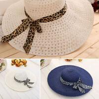 Women Lady Beach Hat Floppy Sun Straw Hat Wide Brim Cap Derby SummerFoldable QA
