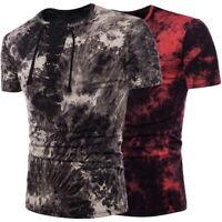 Sommer Herren Kurzarm Tief V-Ausschnitt T-Shirts Street Style Casual Shirt Tops