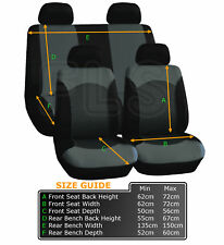 UNIVERSAL 8 PIECE CAR SEAT AND HEADREST COVER SET BLACK/GREY-A114G CHE 1
