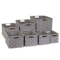 7pc Richards Homewares Nesting Woven Strap Tote Bins Home Storage Sturdy