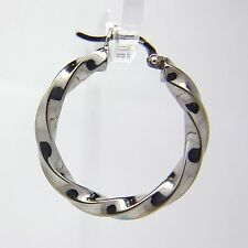 9ct White Gold Twist Hoop Earrings - 28mm