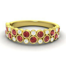 0.91 Ct Diamond Garnet Eternity Band 14K Solid Yellow Gold Diamond Ring Size O P