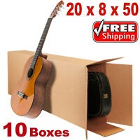 "20x8x50"" Acoustic Guitar Shipping Packing Boxes Moving Keyboard Heavy Duty 10PCS"