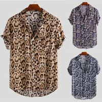 Men's Leopard Print Shirt Casual Summer Short Sleeve Dress Shirt Fashion Tops