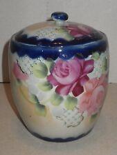 Vintage Hand Painted Floral Porcelain Japan Asian Oriental Ginger Biscuit Jar