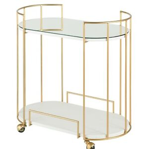 Rolling Gold Finish Bar Cart / Serving Tea Trolly w/ Lower Glass Shelf and Top