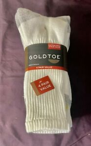 GOLD TOE Casual Combed Cotton Crew Socks Value Pack B 4 Pairs White One Size