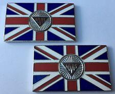 Pair of ALVIS Union Jack GB Brass Enamel Classic Car Badges - Self Adhesive