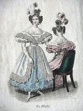 GRAVURE ANCIENNE MODE 19e - LA MODE - MARS 1832