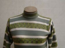 Women's 100% Wool Sweater M Crew Turtle Neck Ribbed Knit Olive Tan Green Striped