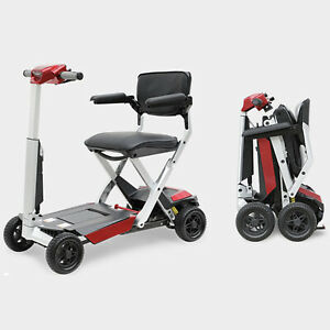 Drive AutoFold Elite Folding Scooter with Digital LCD Screen & LED Headlight RED
