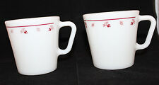 Corning Corelle Pyrex Burgundy Rose Milk Glass Set of 2 Coffee Mug Cup 300ml USA