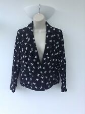 New Look Cameo Rose Black Swallow Bird Blazer Jacket UK Small 8-10 AP10 **NEW***