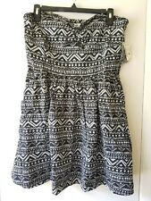 NWT!! Aeropostale Black Tribal Geometric Tube Top Fit & Flare Dress - XL X-Large