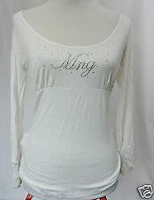 **MNG JEANS** White Stretch Long Sleeves Top M 12 Embellished Blouse MANGO