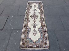 Old Shabby Chic Traditional Hand Made Persian Crem Wool Narrow Runner 206x67cm