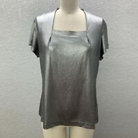Mary Kay Stretch Top Blouse Women's L Silver Knit Square Neck Short Sleeve