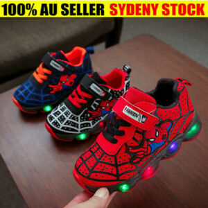 Kids Boys Girls Spider-Man Light Up Shoes LED Flashing Casual Sneakers UK STOCK!