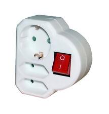 3 fach Stecker Verteiler Adapter 1x Schutzkontakt 2 x Euro mit Schalter weiss