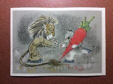 Vintage russian postcard 1966 GOLUBEV Winter Olympics Hare figure skater lion
