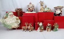 Lot 8 Fitz Floyd Porcelain Holiday Christmas China Music Box Santa Tray Reindeer