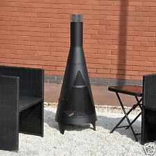 LARGE TOWER CHIMINEA GARDEN BLACK CHIMNEA OUTDOOR PATIO HEATER BBQ FIREPIT STEEL