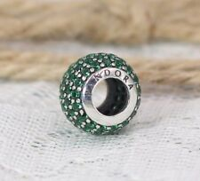 Pandora S925 Ale Silver Green Pave Ball Charm 791051CZN + Tissue & Pop-up Box