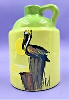 UNUSUAL RICK WISECARVER HAND PTD ART POTTERY JUG-WIHOA SANDS - SIGNED-DATED 1985