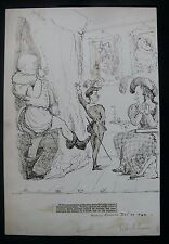 c.1844 London Police Court Barristers in Hamlet - Original Pen & Ink Caricature