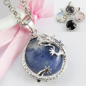 Gemstone Chinese Lucky Dragon Charm Necklace 75cm Select Gemstone