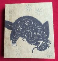 Natural Brown Paper Notepad with Cat & Mouse Chinese Paper-Cut Stamp Stencil Art