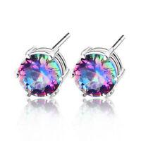 Wholesale Christmas Gift Rainbow Mystic Topaz Silver Round Cut Stud Earrings