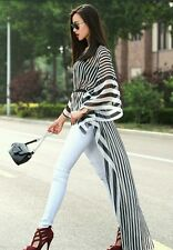 NEW FABULOUS BLACK & WHITE STRIPED WITH LONG FLOWING TRAIN TUNIC. M/XL