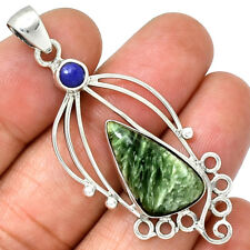 Seraphinite & Lapis 925 Sterling Silver Pendant Jewelry PP210949