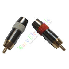 4pc Copper RCA Plug Gold Plated Audio Video Adapter Connector Screw Locking DIY