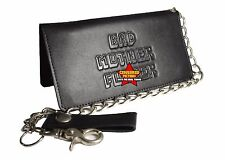 The BMF Black Biker Bi-Fold with chain Leather Wallet EMBOSSED